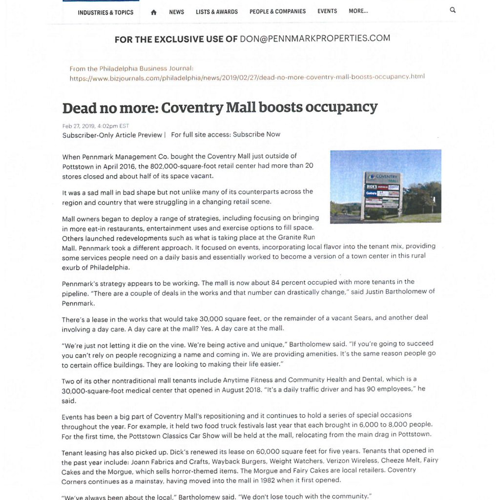 Pennmark Management Company has revitalized the Coventry Mall in Pottstown, Pennsylvania.